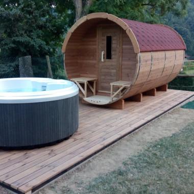 Sauna finlandese a botte da esterno diam 1.9m x 3.5m