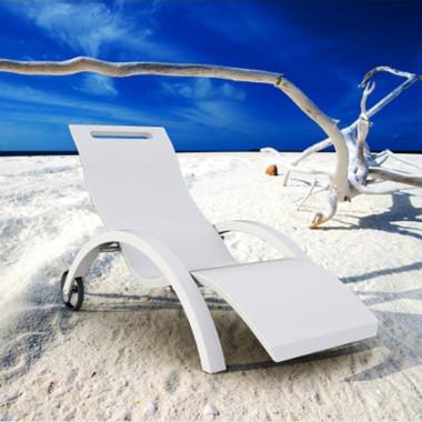 Chaise lounge lettino relax con ruote per esterni