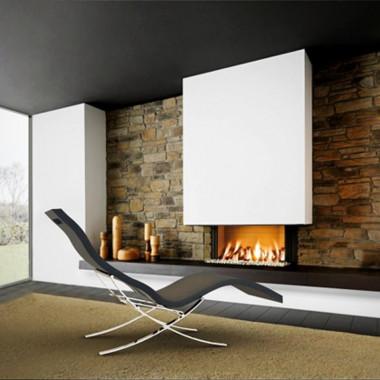 Chaise lounge lettino relax per interni con supporti in acciaio inox