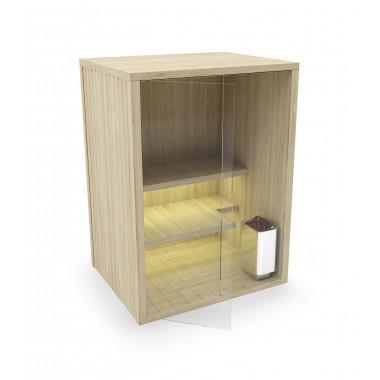 Sauna finlandese in abete nordico con parete in vetro VERSIONE B