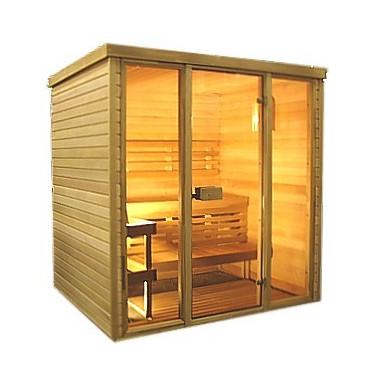 Sauna con frontale vetrato