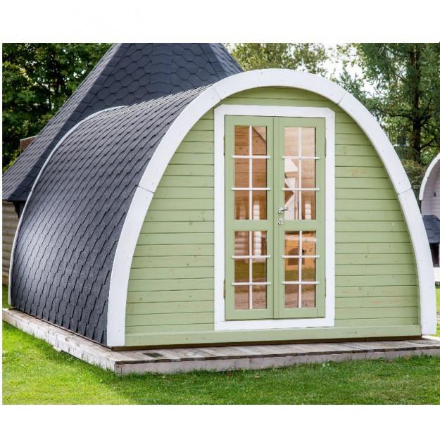Gazebo in legno bungalow isolato da giardino campeggio for Casa mobile in legno