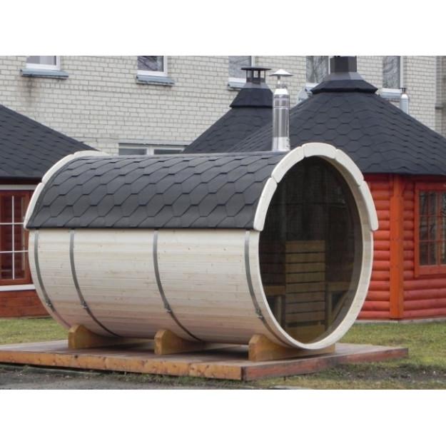 Sauna finlandese a botte con parete vetrata