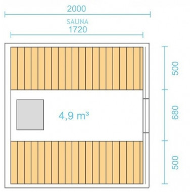 Dimensioni sauna a botte lunga 2mt