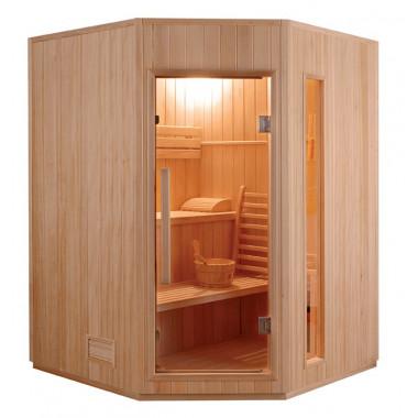 Sauna finlandese 3-4 posti angolare 150x150 cm