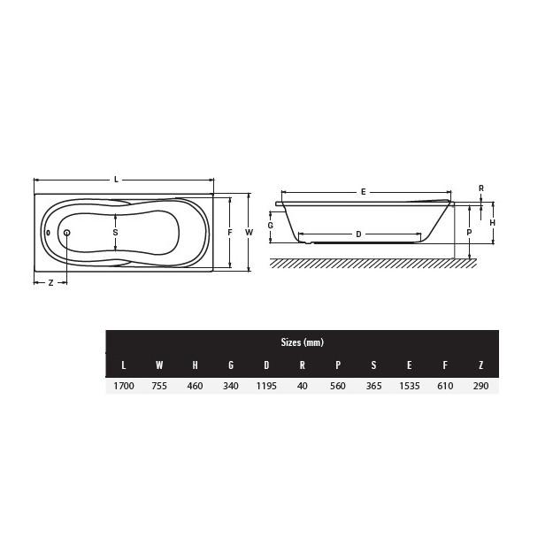 Vasca idromassaggio Lira2 170x75 cm