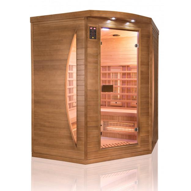 Sauna infrarossi FULL SPECTRUM radiatori al magnesio per 3 persone cromoterapia ad angolo