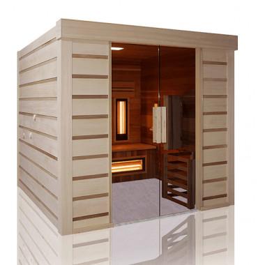 Sauna finlandese ed infrarossi combinata in cedro con accesso disabili
