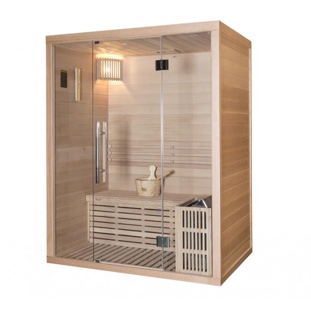 Sauna finlandese in hemlock canadese 105x150 cm con frontale vetrato