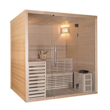 Sauna finlandese in hemlock canadese 150x180 cm con frontale vetrato