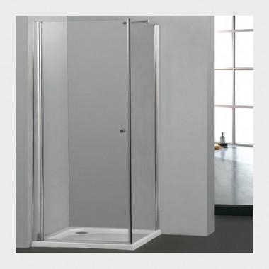 Cabina doccia un'anta battente e una fissa vetro temprato trasparente
