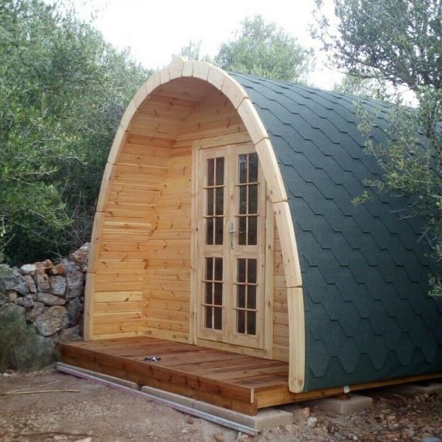 Gazebo in legno casetta bungalow isolato camping Pod 16 mq 5,8x3,2m