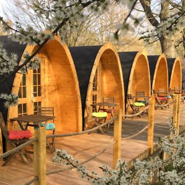 Gazebo camping POD in legno casetta giardino bungalow 4,8x2,4m