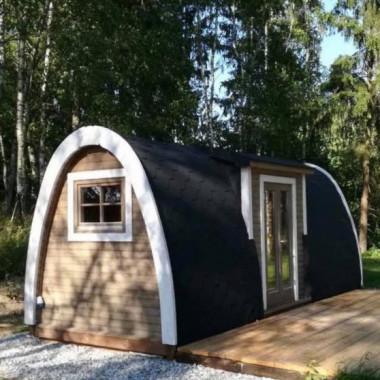 Gazebo in legno casetta bungalow isolato da giardino a iglu ingresso laterale