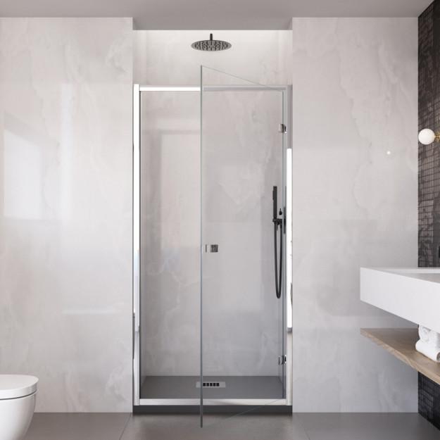 Parete porta doccia battente nicchia vetro trasparente 6 mm h195  GA anticalcare