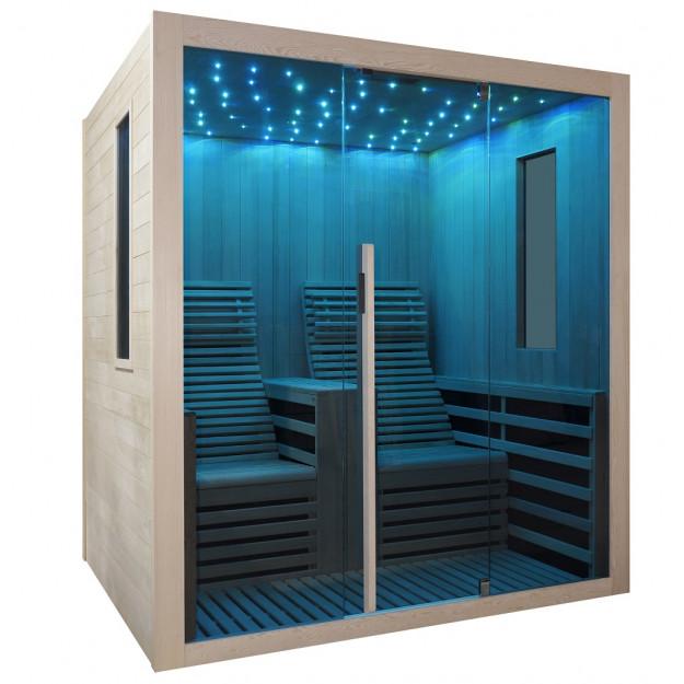 Sauna infrarossi a pannelli di carbonio con sdraio e cielo stellato 2 posti