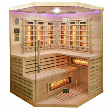 Sauna infrarossi FULL SPECTRUM per 4 persone cromoterapia ad angolo vetrata