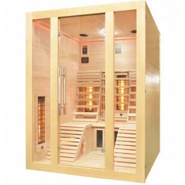 Sauna infrarossi FULL SPECTRUM per 2 persone sdraiate cromoterapia color legno