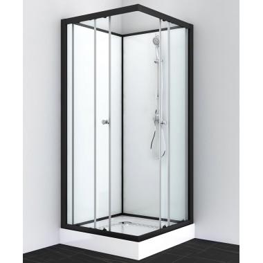 Box doccia quadrato 80x80 o 90x90 bianco profili neri