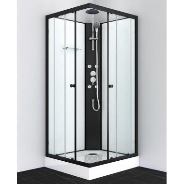 Box doccia idromassaggio quadrato 80x80 e 90x90 bianco con profili neri