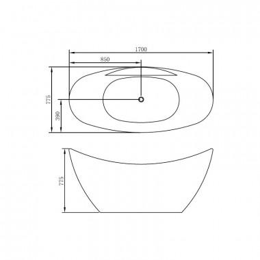 Vasca da bagno freestanding 170 x 78 cm pleiadi 170 x 78 cm i vnl01 - Vasca bagno dimensioni ...