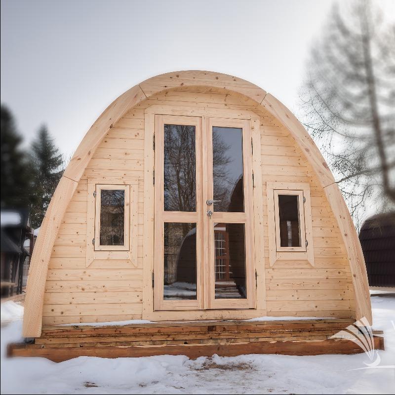 Camping pod in legno bungalow isolato da giardino for Casette in legno abitabili arredate