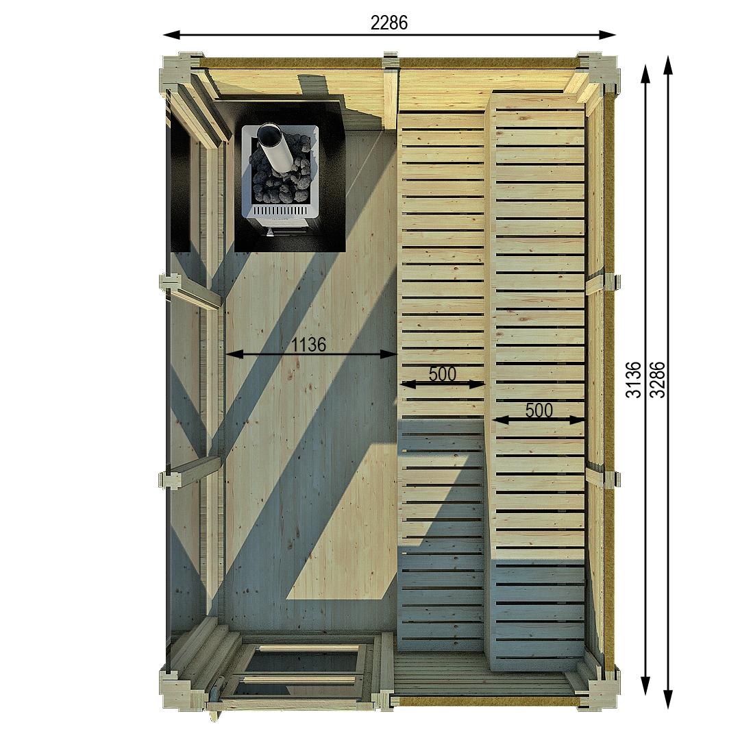 Saunacube 3x2 m interno senza spogliatoio