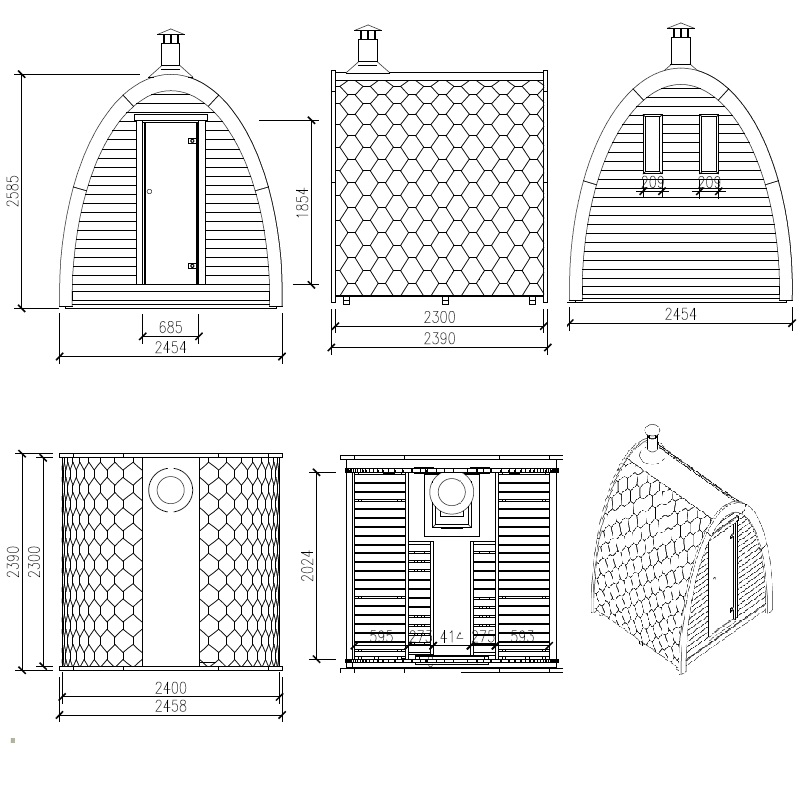 Sauna finlandese pod da esterno per 4 persone ad un ottimo for Sauna del cortile chiavi