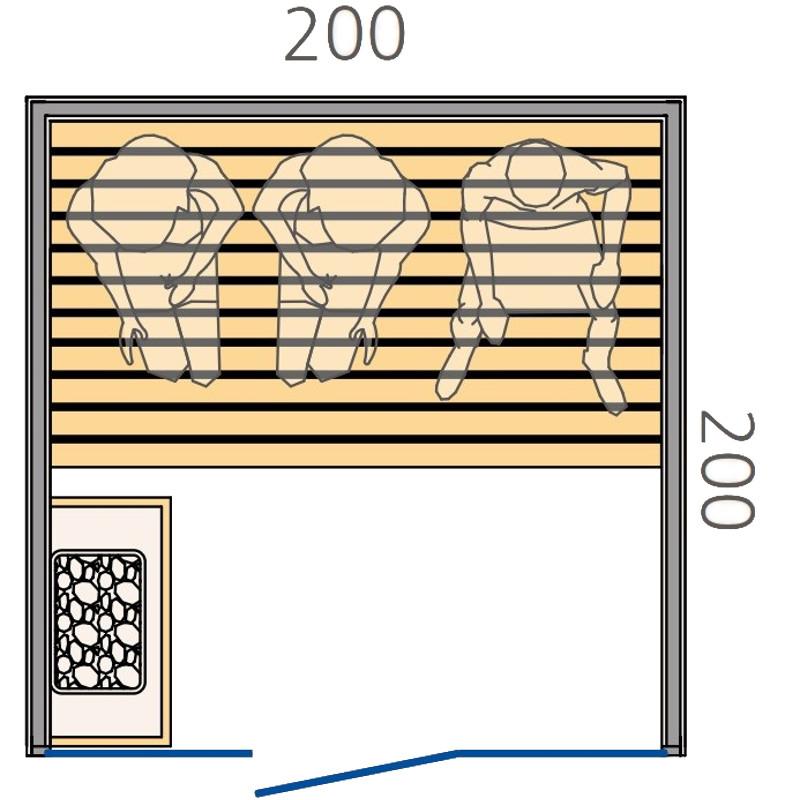 Disegno tecnico sauna finlandese 200x200cm