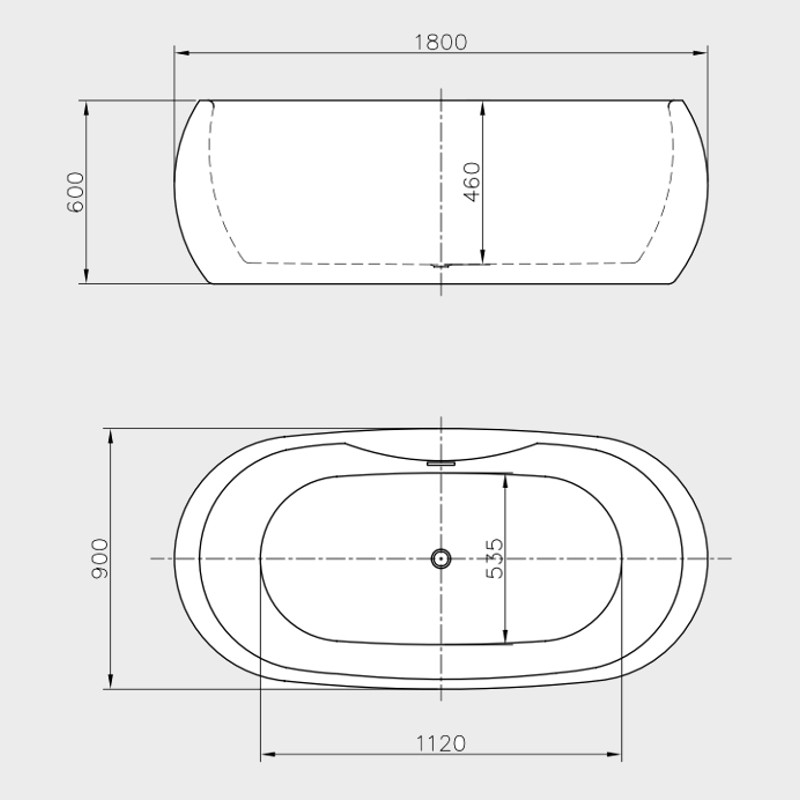 Vasca da bagno freestanding diadema 180x90cm - Vasca bagno dimensioni ...
